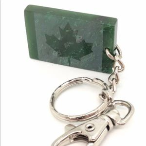 Genuine Jade Maple Leaf Keychain